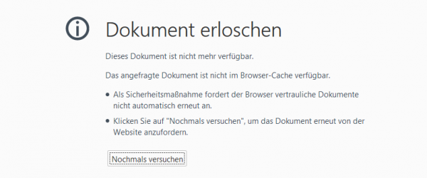 Dokument erloschen. Screenshot