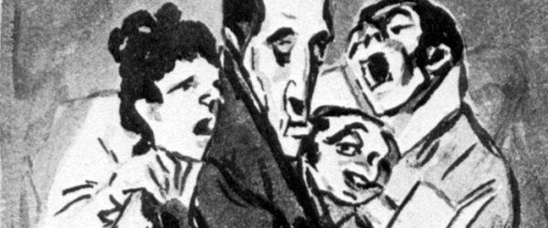Francisco de Goya y Lucientes: Madrid-Album : »Sie singen für den Komponisten«, 1796–1797, Pinsel- und Tusche- und Sepialavis, auf bläulichem Papier, 23,6 × 14,7 cm