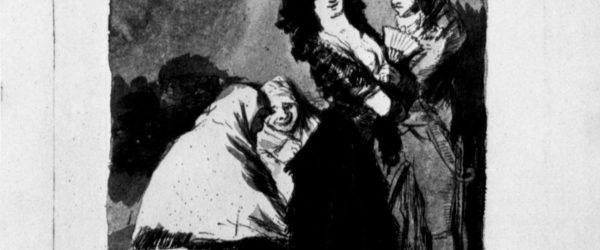 Francisco de Goya y Lucientes: Zeichnungen für »Los Caprichos«: »Neunzehnter Traum, Die alten Lachen sich tot, weil sie wissen, daß er nicht einen Pfennig besitzt«, 1797–1798, Feder in Sepia, mit Chinatusche laviert, auf Papier, 24,5 × 18,5 cm. Madrid, Museo del Prado.