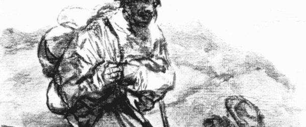 Francisco de Goya y Lucientes: Tagebuch-Album : »Gehst du sehr weit?« 1803–1824, Pinsel in schwarzer Tusche, laviert, auf weißem Papier, 20,5 × 14,1 cm, Madrid, Museo del Prado