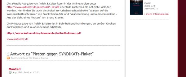 Websiteeintrag des Syndikats. Screenshot: 29.8.2012: 8:50