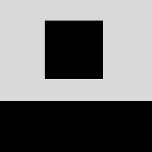 Ein schwarzes Quadrat vor grauem Hintergrund. Hufner